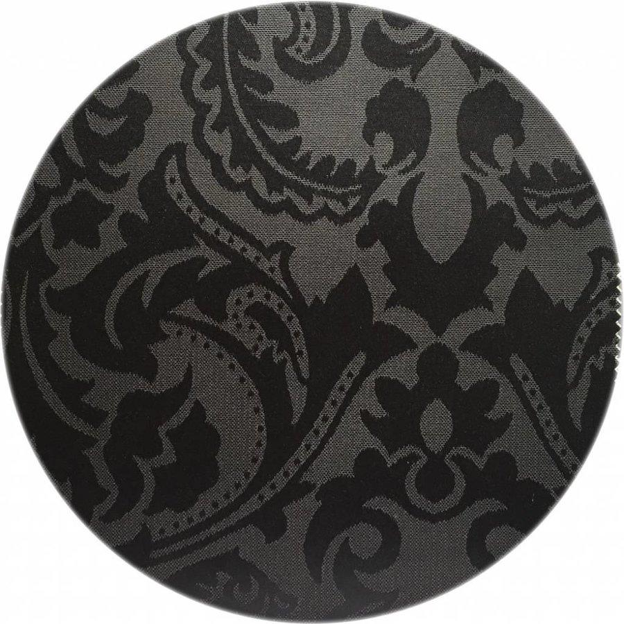 Rond Tafelkleed Gecoat Jacquard - 180 cm -Barok - Zwart