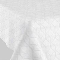 Tafelkleed Gecoat Ogee Jacquard 140 x 250 cm Wit