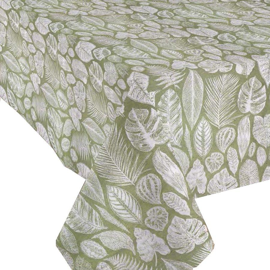 Tafelkleed Gecoat Jacquard Tropische Bladeren  140 x 250 cm  Groen