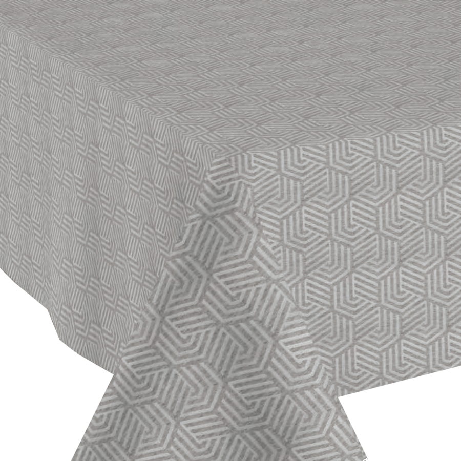Tafelkleed Gecoat Jacquard Seamless Hexagon 140 x 250 cm  Grijs