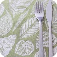 Tafelkleed Gecoat Jacquard Tropische Bladeren  140 x 300 cm  Groen