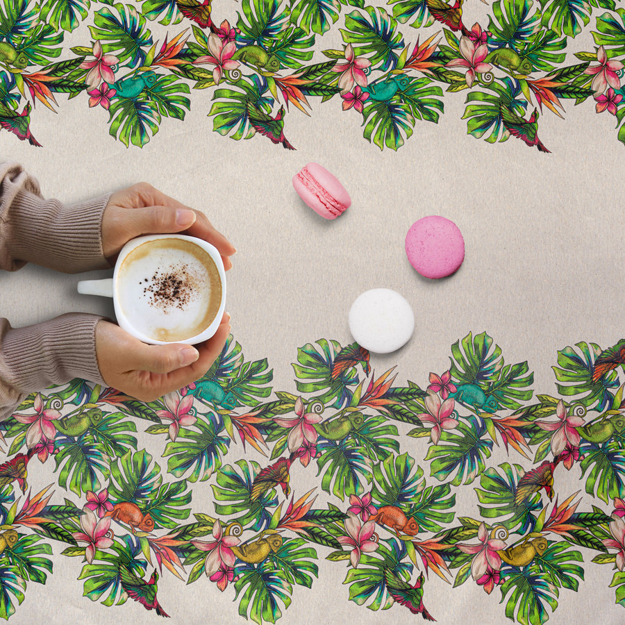 Tafelkleed Gecoat - 140 x 250 cm - Tropical Borders