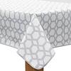 MixMamas Tafelzeil 140 x 200 cm - Hexagonal-layers-Wit/Grijs