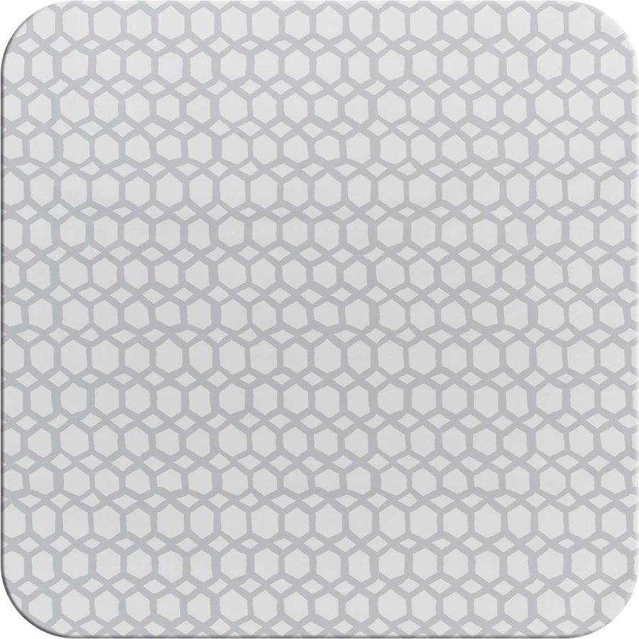 Tafelzeil 140 x 200 cm - Hexagonal-layers-Wit/Grijs