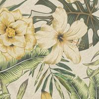 Rond Tafelkleed Gecoat - 160 cm - Tropical Hibiscus groen