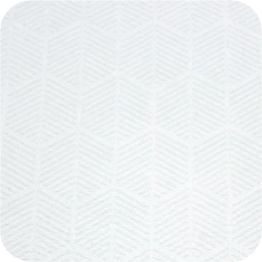 Tafelkleed Gecoat Jacquard Striped Hexagon 140 x 300 cm Wit
