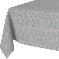Tafelkleed Gecoat Jacquard Seamless Hexagon 140 x 300 cm  Grijs