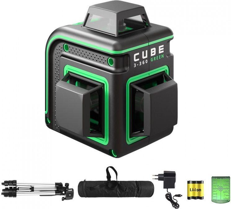 ADA  CUBE 3-360 Proffessional Edition. groene Lijnlaser met 3x360° groene lijnen