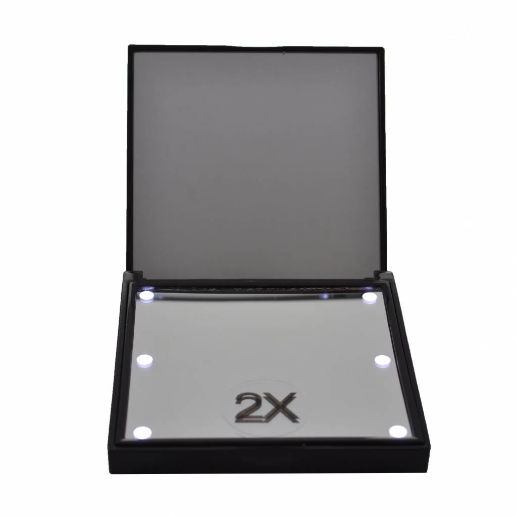 Tasspiegel zwart verlicht 6x LED