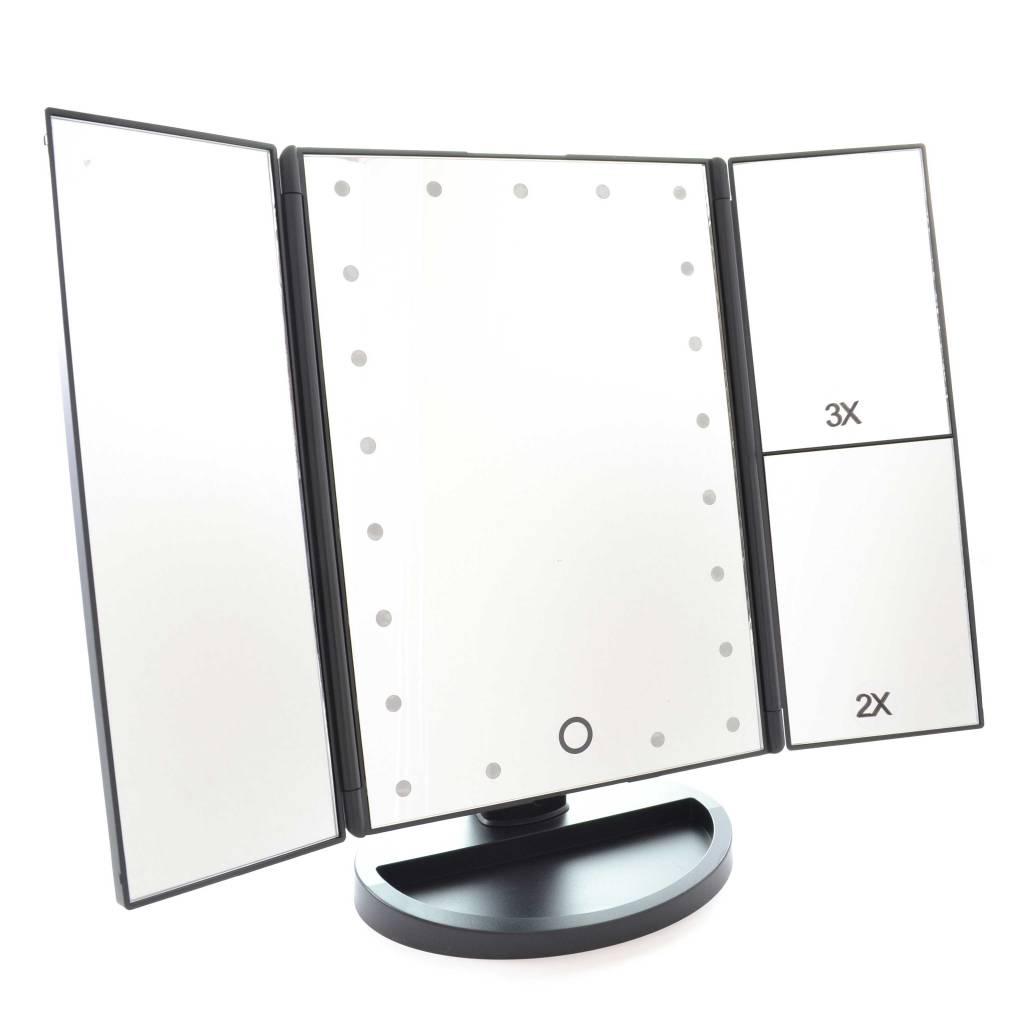 Drieluik LED make-up spiegel 2+3 maal vergroting