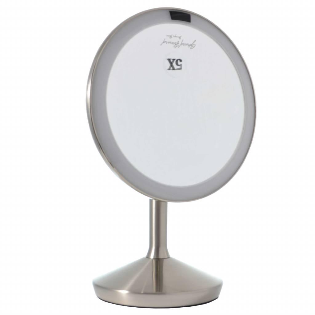 Sensor make-up spiegel met LED licht 5x vergroting, Inclusief batterijen, 16 cm doorsnee, badkamer spiegel