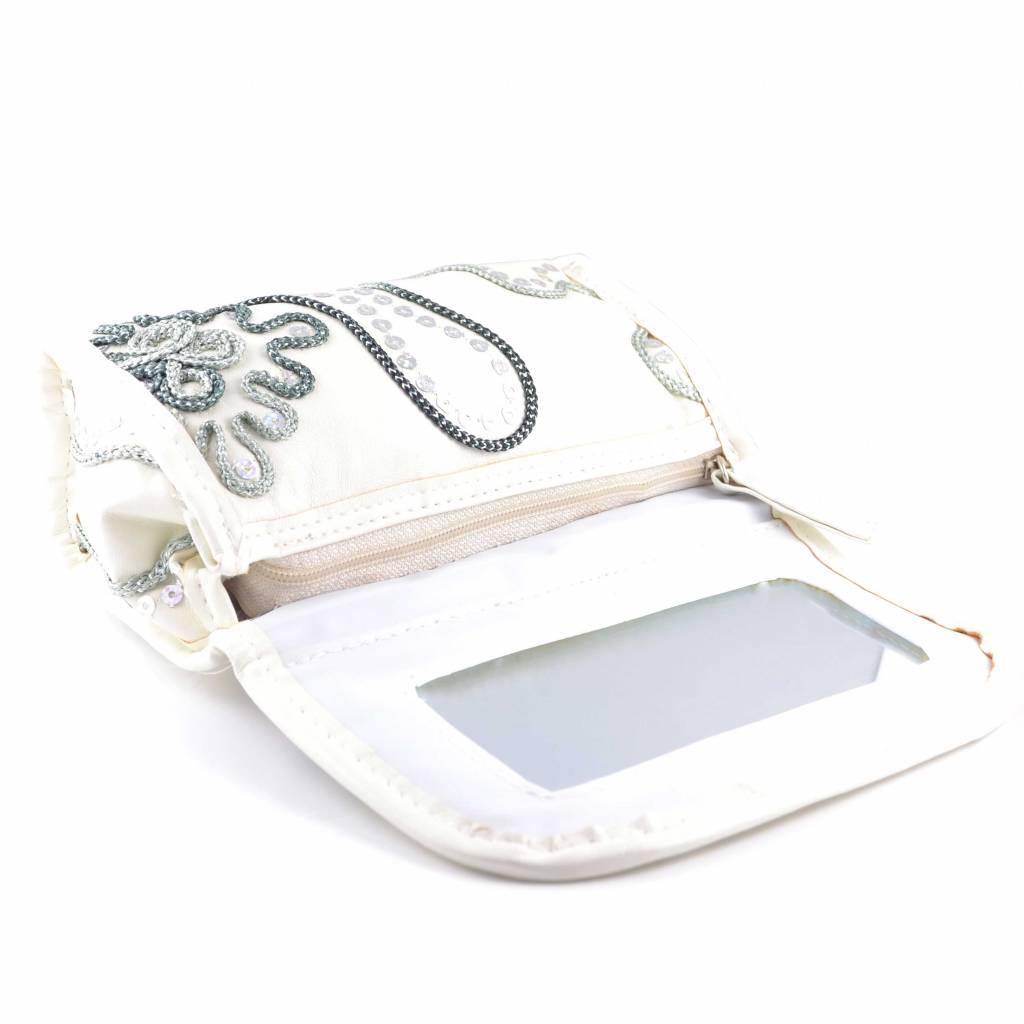 Trendy spiegeltasje wit, reizen, vakantie, beauty, opbergen, stappen, spiegel