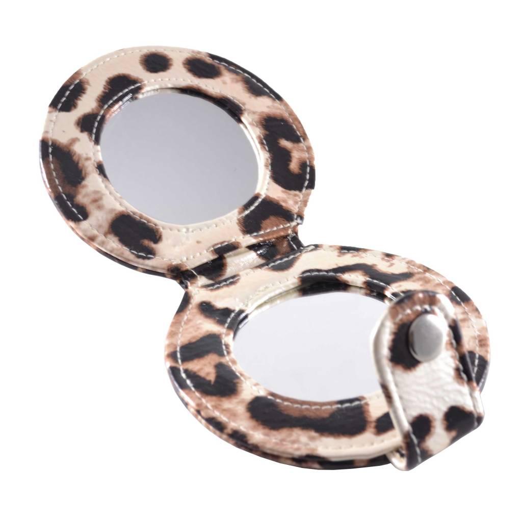 Tasspiegel Dieren print panter Licht Bruin, opmaken, spiegel, beauty
