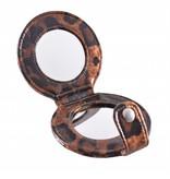Tasspiegel Dieren print panter Cognac Bruin, opmaken, spiegel, beauty