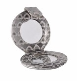 Tasspiegeltje grijs hartjes print, spiegel, opmaken, beauty