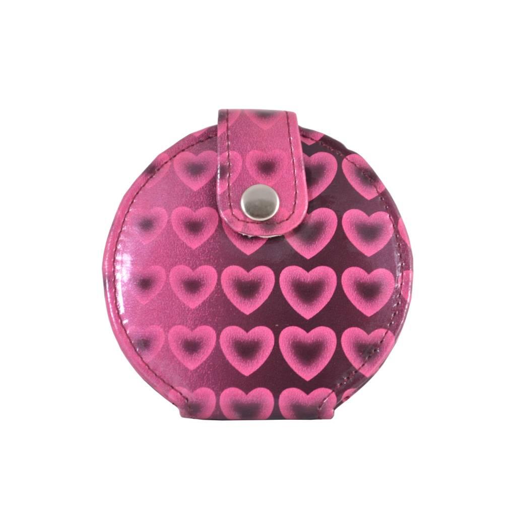 Tasspiegeltje roze hartjes print, spiegel, opmaken, beauty