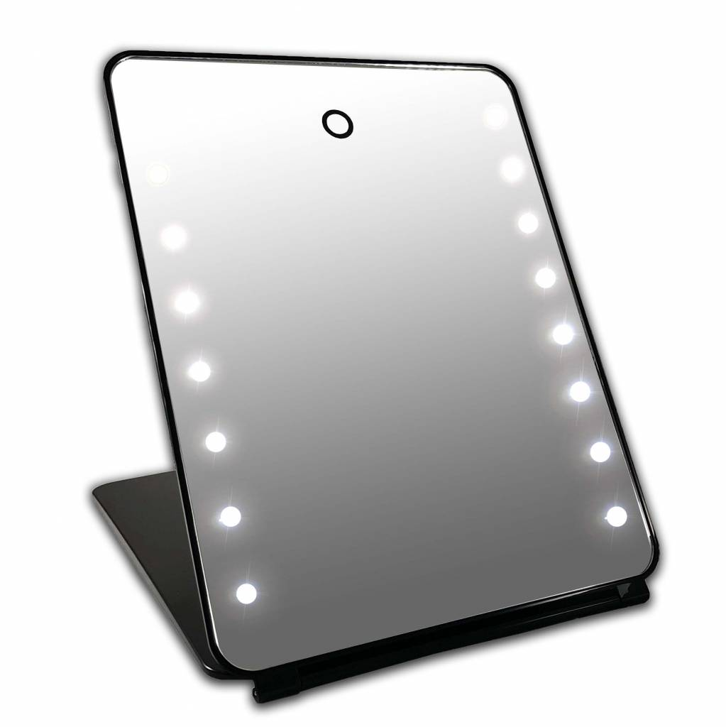 i pad make up spiegel zwart 16x led met touch sensor accu
