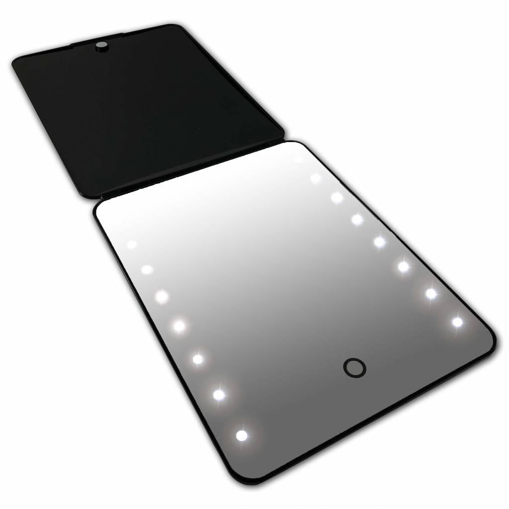 I-pad Make-up Spiegel zwart 16x LED met Touch Sensor| Accu