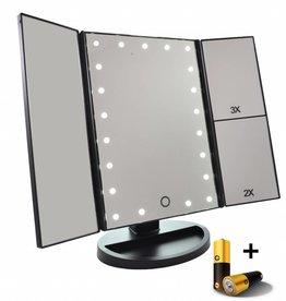 Drieluik LED Touch make-up spiegel 2+3 maal vergroting