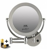 Metalen wand knik arm badkamer LED Spiegel, Dubbelzijdig verlicht, 10x vergroting 22cm doorsnee, inculsief 4x AA batterijen en stroomkabel(micro USB).