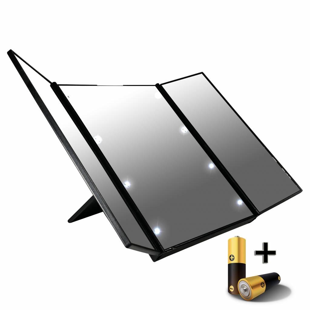 LED 3 luik make-up spiegeltje- draagbaar - 8x LED, inclusief 2x knoop batterijen