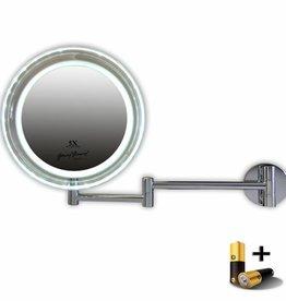 Metalen wand knik arm badkamer LED Spiegel, Enkelzijdig verlicht, 5x vergroting 19.5cm doorsnee, inclusief 3x AA batterijen