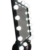 Grote Hollywood LED Make-up Spiegel Zwart, Visagie spiegel, Theater spiegel, 3x licht standen met dimfunctie.
