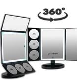Drieluik LED make-up spiegel touch knop en dimmer 1, 3, 5 en 10 maal vergroting