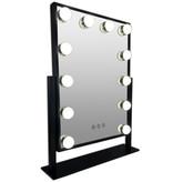 Zwarte Make-up hollywood LED spiegel, 12x dimbare  LED bulbs. 3 kleuren licht