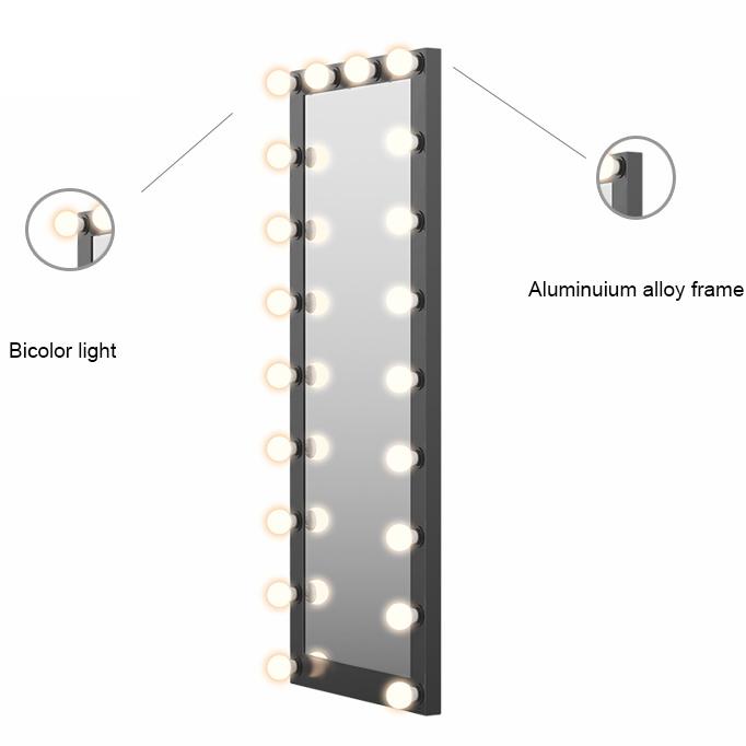 Gérard Brinard Hollywood passpiegel zwart, 180cm x 75cm, 22x dimbare LED bulbs E27