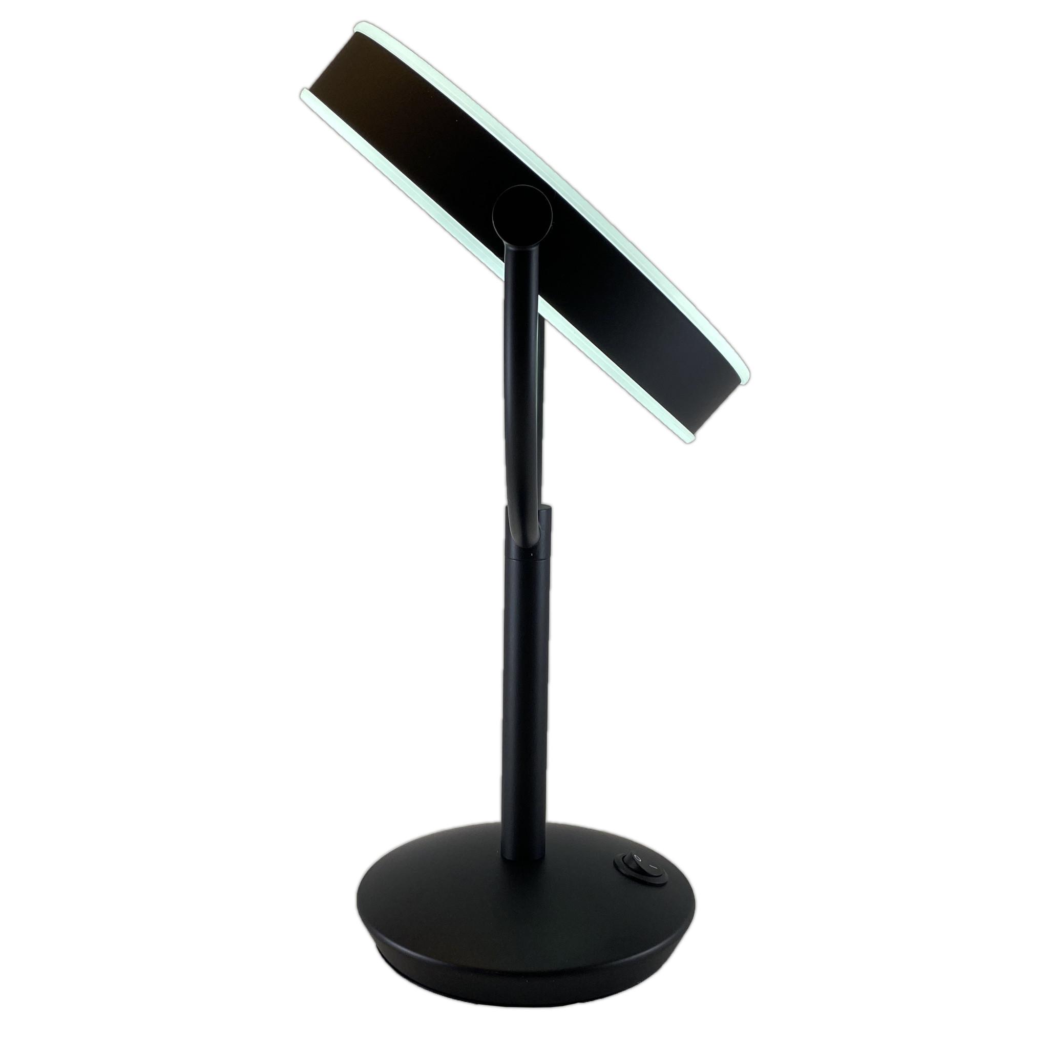 Gérard Brinard Metalen Make-up LED Spiegel Mat zwart 10x vergroting 19cm doorsnee, inculsief 4x AA batterijen en USB stroomkabel