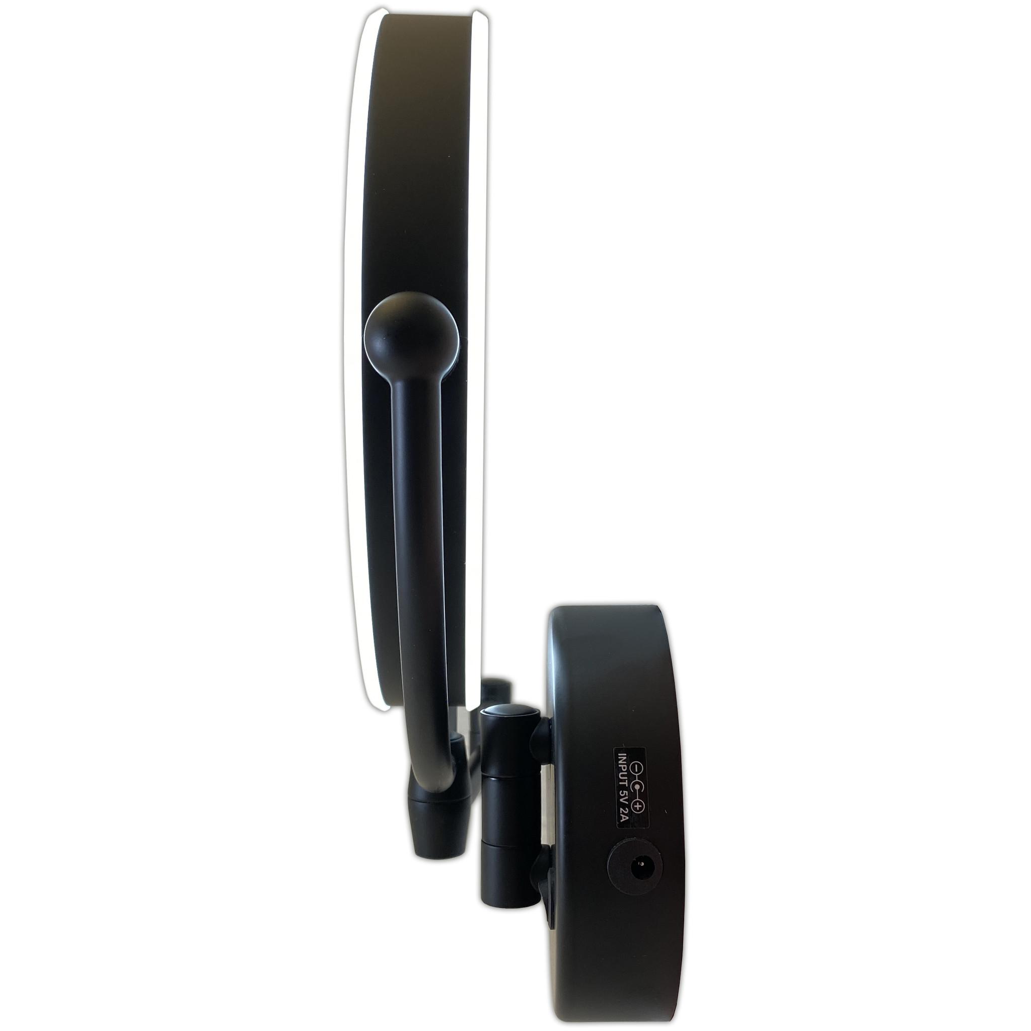 Gérard Brinard Metalen wand knik arm badkamer LED Spiegel mat zwart, Dubbelzijdig verlicht, 10x vergroting 22cm doorsnee, inculsief 4x AA batterijen en stroomkabel(USB).