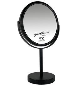 Gérard Brinard Metalen make-up spiegel mat zwart - 5x vergroting 18cmØ