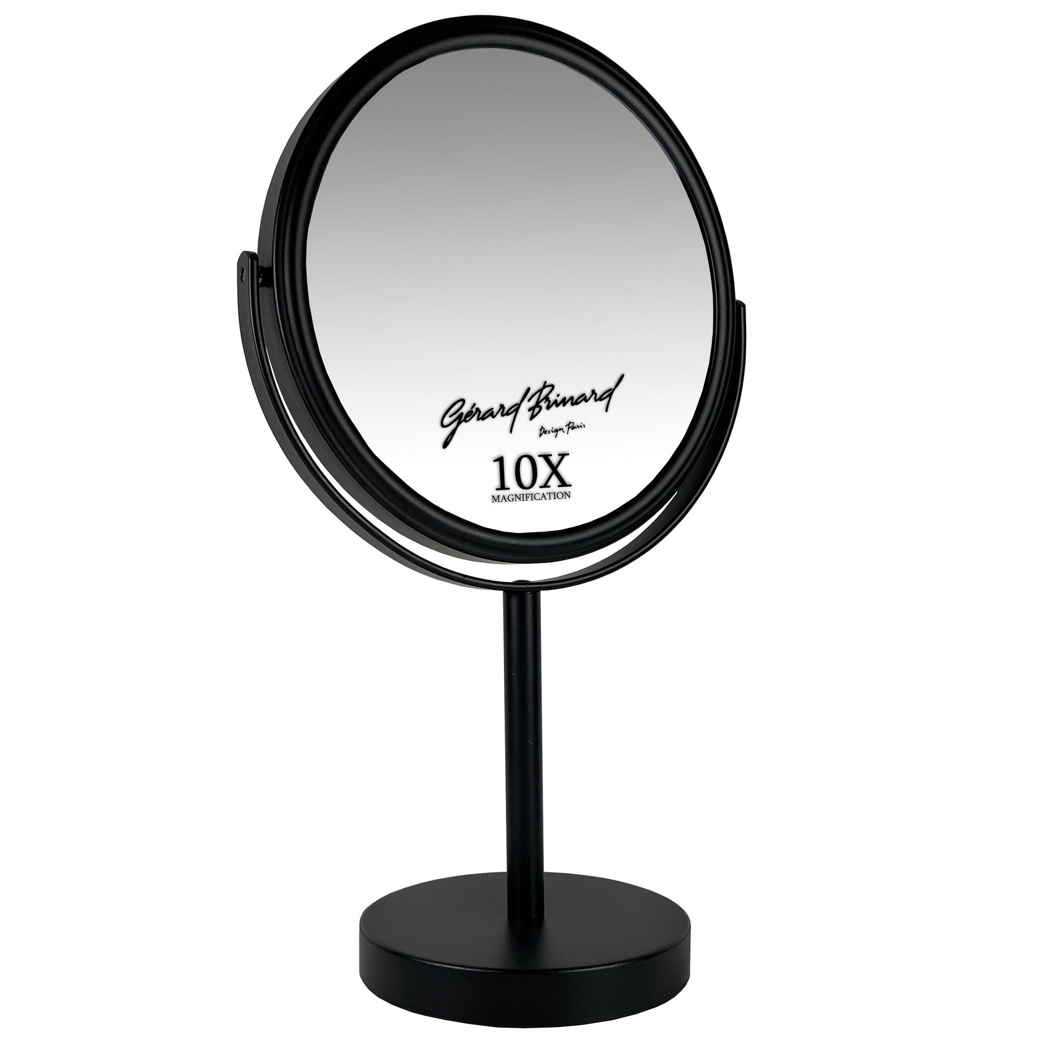 Gérard Brinard Metalen make-up spiegel mat zwart- 10x vergroting 18cmØ