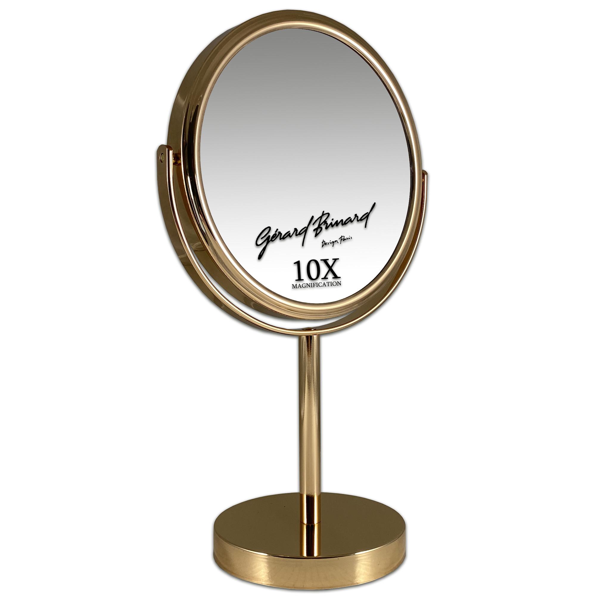 Gérard Brinard Metalen make-up spiegel goud- 10x vergroting 18cmØ