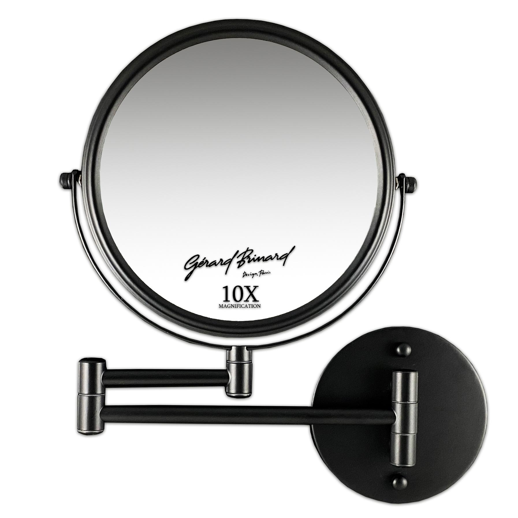 Gérard Brinard Make-up wandspiegel knikarm mat zwart - 10x vergroting 20cmØ