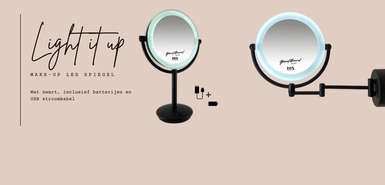 LED make up spiegels mat zwart