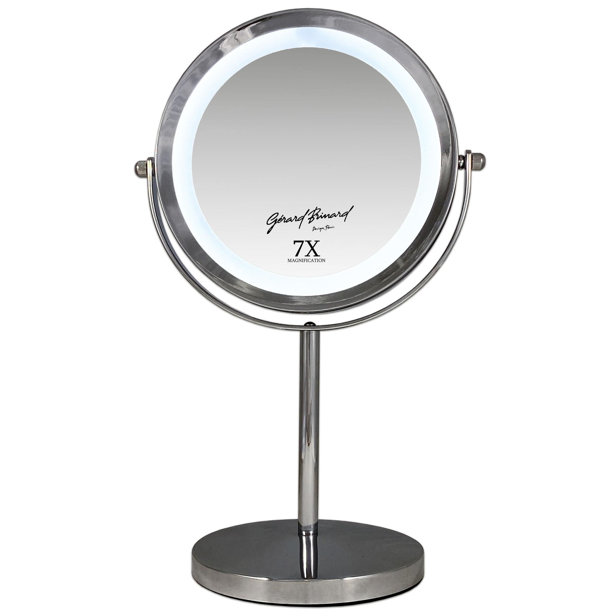 Gérard Brinard Metalen make-up LED spiegel dubbelzijdig 17,5CMØ 7x vergroting