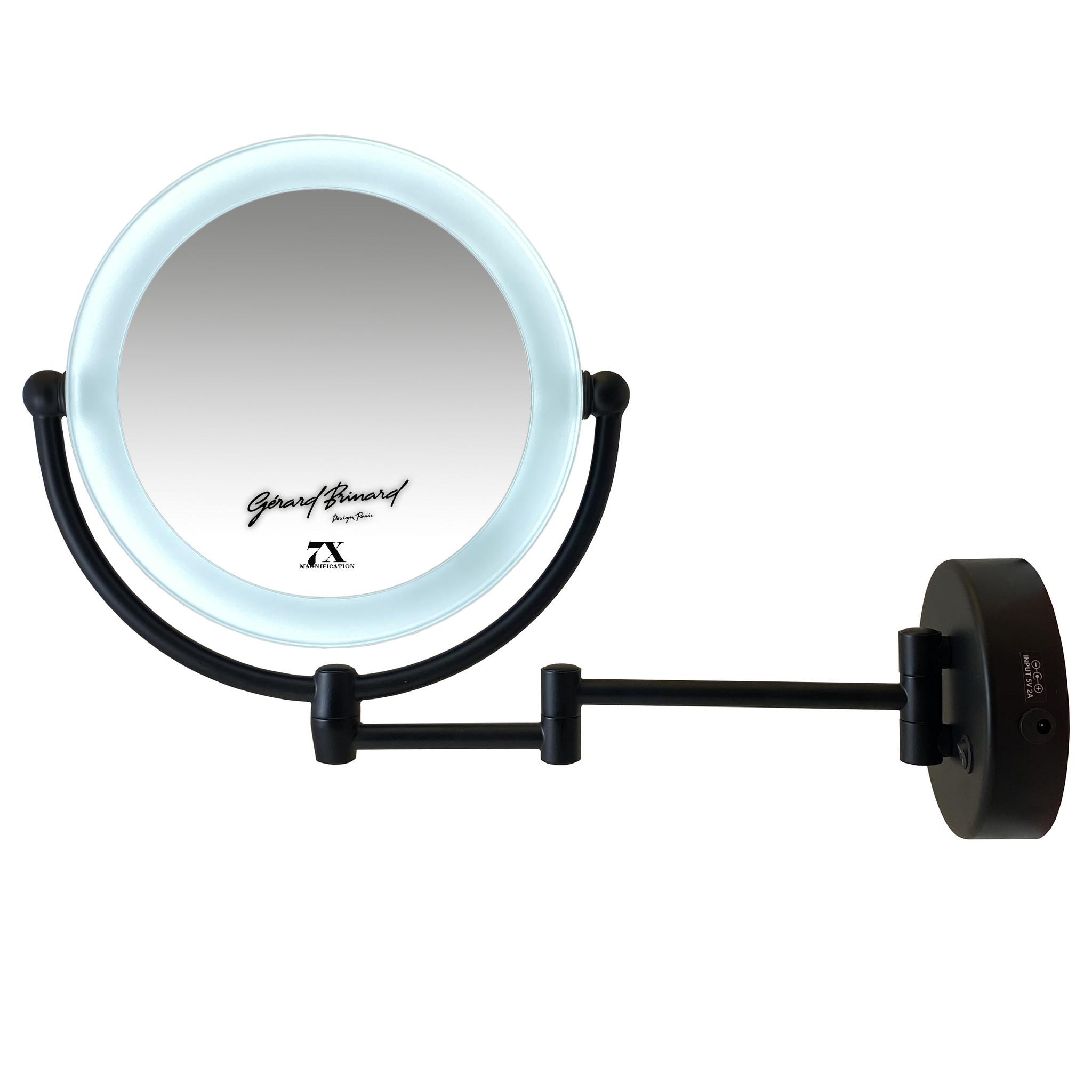 Gérard Brinard Metalen Make-up LED Spiegel Mat zwart 7x vergroting 19cm doorsnee, inculsief 4x AA batterijen en USB stroomkabel