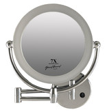 Gérard Brinard Metalen wand knik arm badkamer LED Spiegel chroom, Dubbelzijdig verlicht, 7x vergroting 22cm doorsnee, inculsief 4x AA batterijen en stroomkabel(USB).