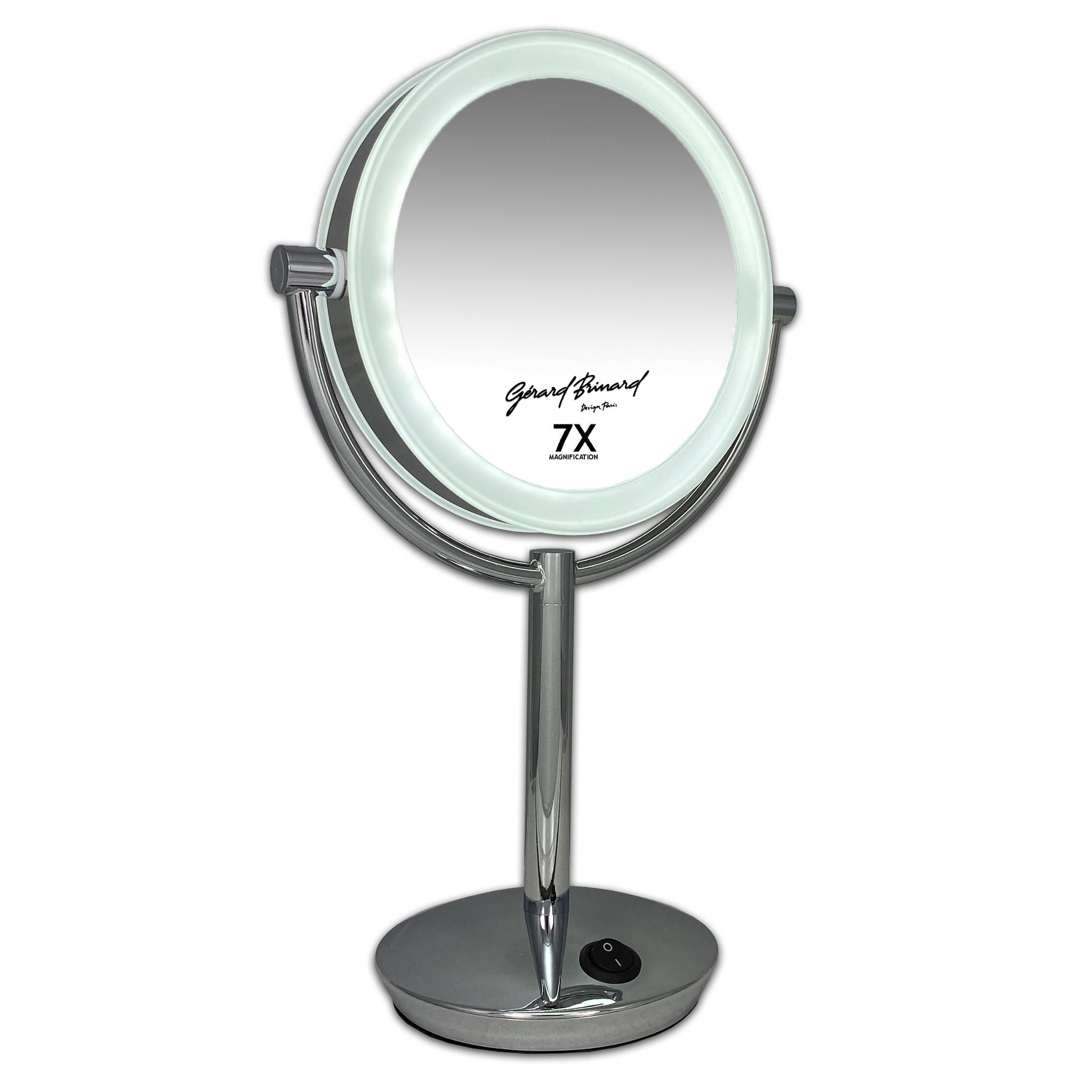 Gérard Brinard Metalen Make-up LED Spiegel 7x vergroting 19cm doorsnee, inculsief 4x AA batterijen