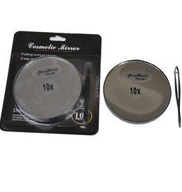 Make-up Spiegeltje met pincet Ø8cm/10x vergroting