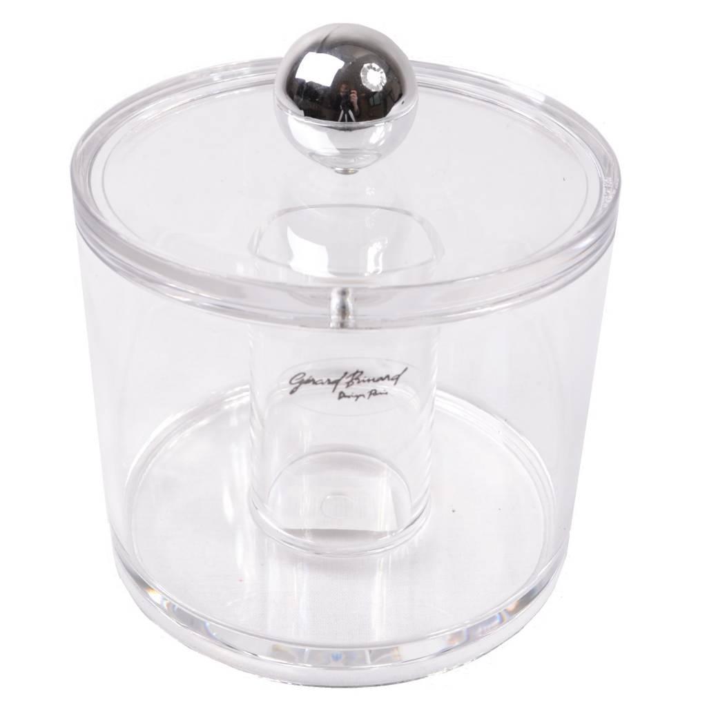 Wattenhouder acryl met zilveren knop