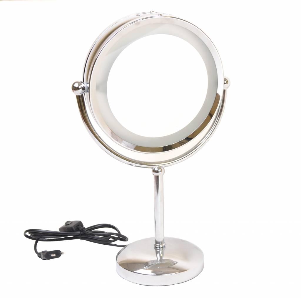 Make-up Spiegel chrome 2-zijdig verlicht Ø20cm/5x vergroting