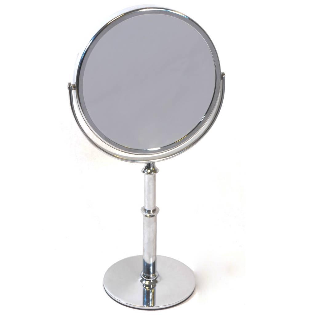 Staande + hand Make-up spiegel zilver Ø15cm Vergroting: 5x-7x-10x