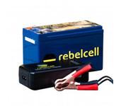 rebelcell fishfinder 12V07amp accu + 12.6V3A oplader