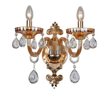 Wandlamp goudkleurig 2-lichts - Birashaqa