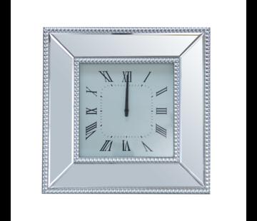 Simpella Mirror - Klok - Stil Uurwerk - 50 x 50 cm - Vierkant - Spiegelglas