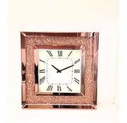 Bernardo Mirror - Klok - Stil Uurwerk - 50 x 50 cm - Vierkant -Brons/Spiegelglas