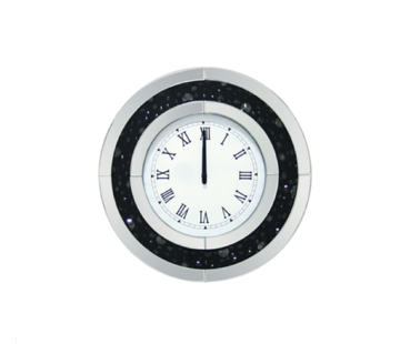 Wello Mirror - Klok - Stil Uurwerk - 50 cm - Rond - Antraciet / Spiegelglas